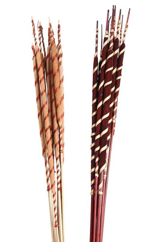 REED SPADIX BROWN WITH RAFFIA SPIRAL 10UD 62CM
