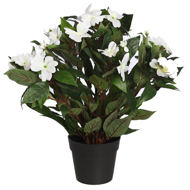 IMPATIENS ARTIFICIAL EN MACETA 44CM blanco