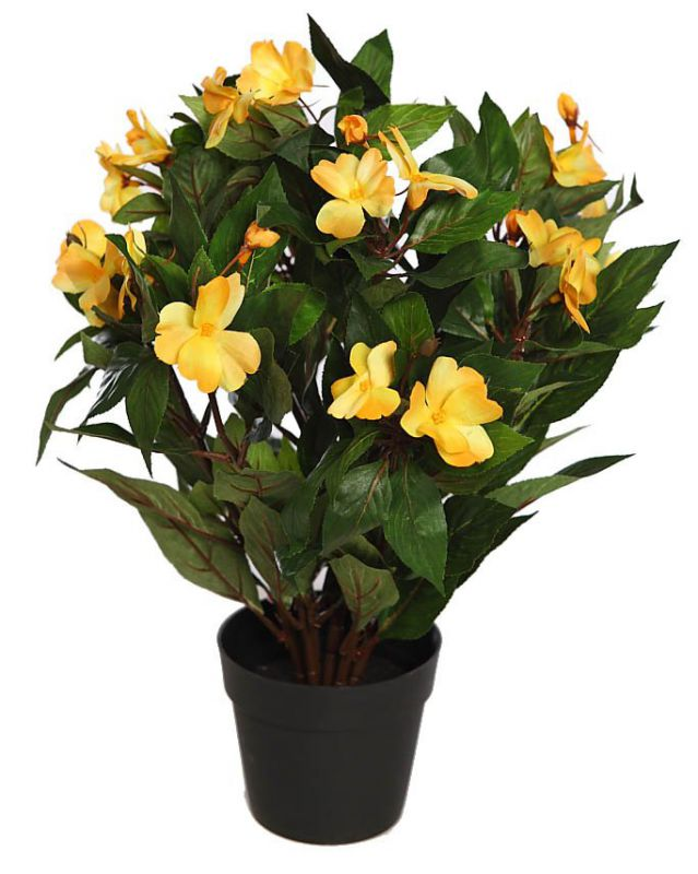 IMPATIENS ARTIFICIAL EN MACETA 44CM amarillo