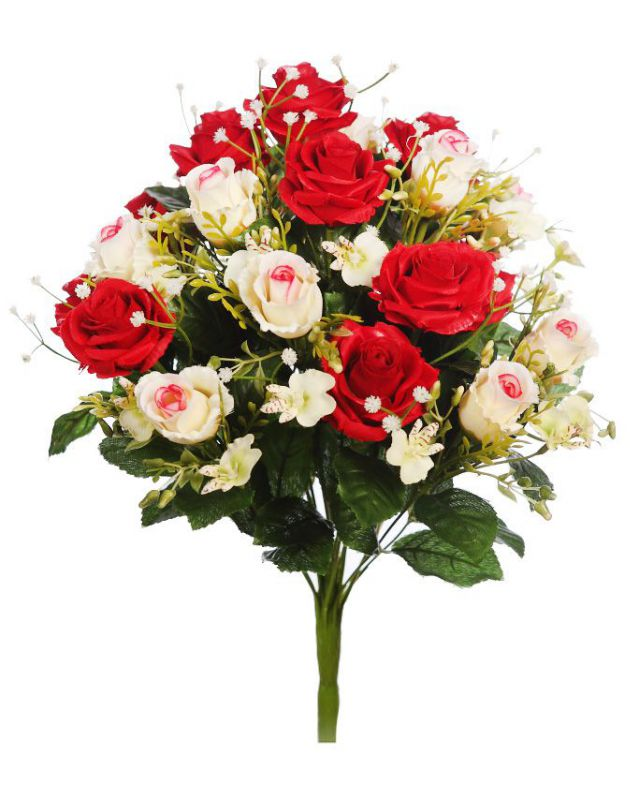 BOUQUET DE ROSAS ARTIFICIAL 37CM ROJO
