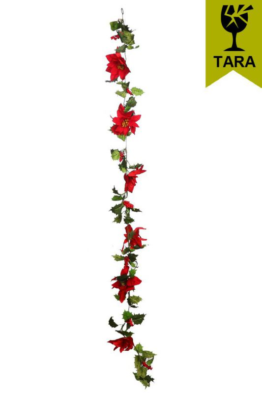 GUIRNALDA POINSETTIA Y BERRIES ARTIFICIAL 170CM CON TARA