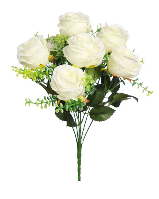 BOUQUET ROSAS ARTIFICIAL 32CM color crema