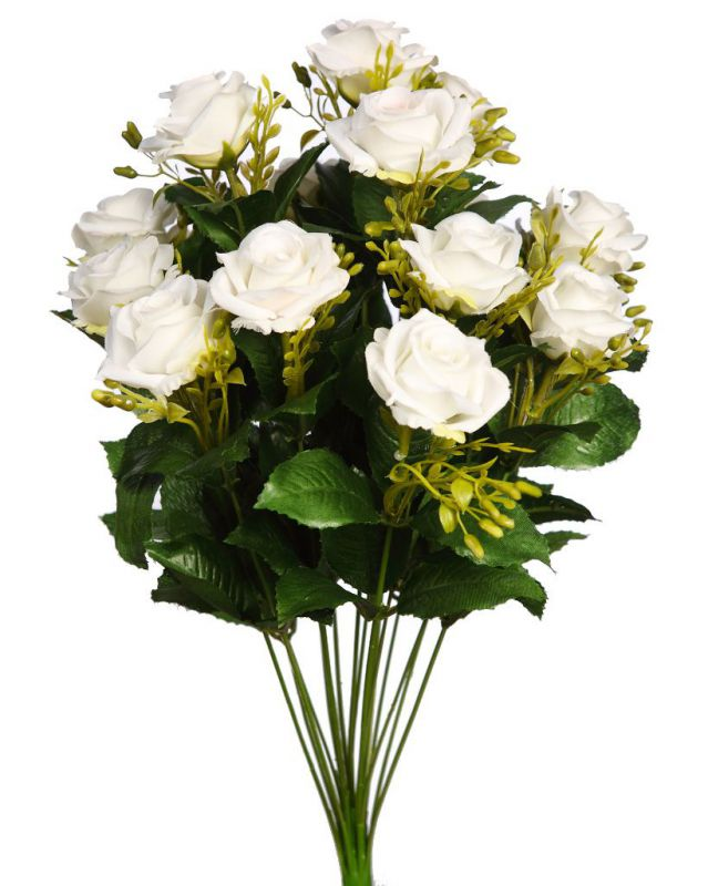BOUQUET DE ROSAS ARTIFICIAL ALT 50CM COLOR CREMA