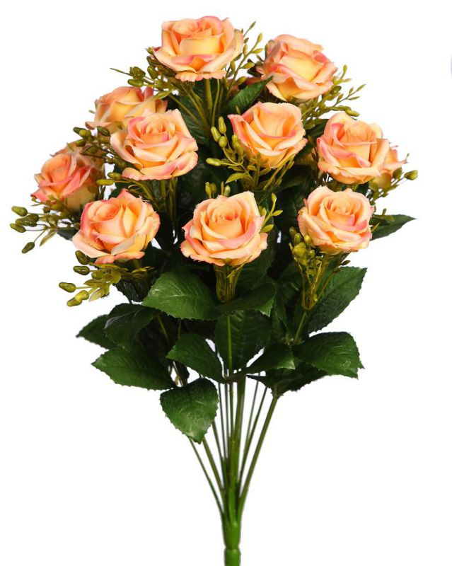 BOUQUET DE ROSAS ARTIFICIAL ALT 50CM COLOR SALMON