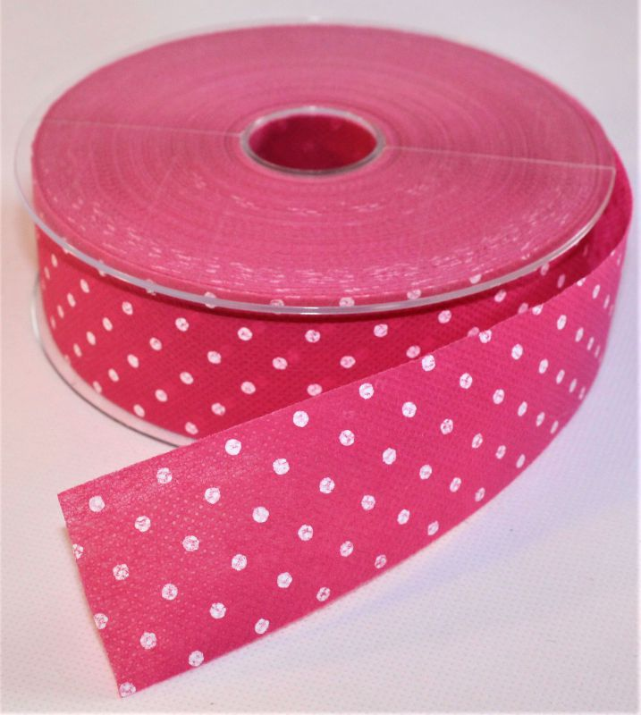CINTA TEXTIL PUNTO COLOR FUCSIA 40MM X 50M